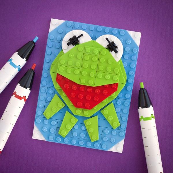 Retrato de La rana Gustavo hecho con LEGO