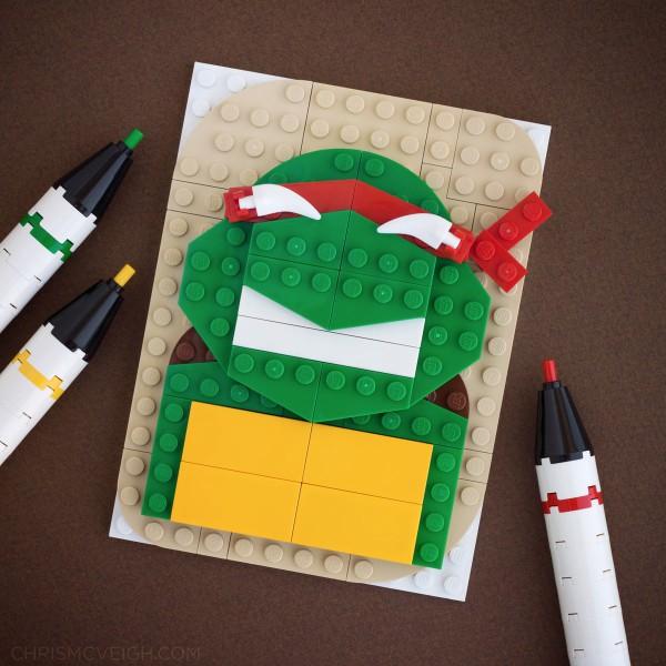 Retrato de tortuga ninja hecho con LEGO