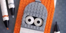 Retrato hecho con LEGO de Bender