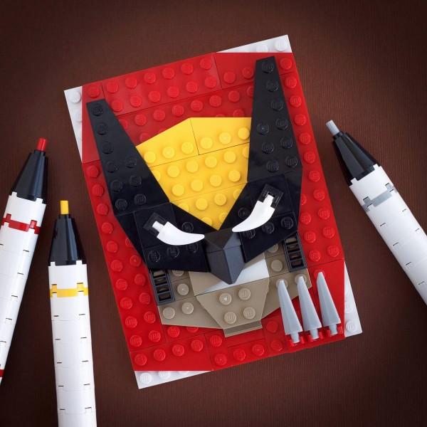 Retrato hecho con LEGO de Lobezno