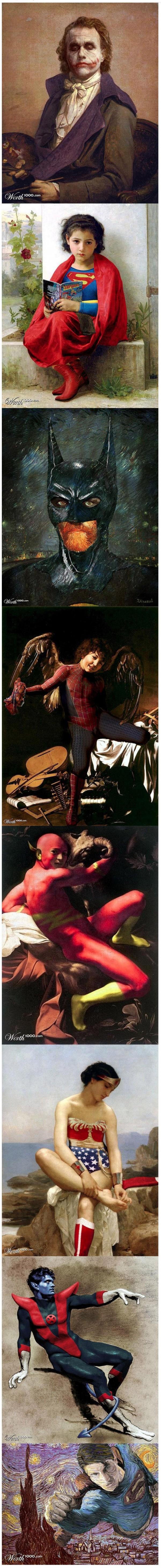 Superhéroes en cuadros famosos