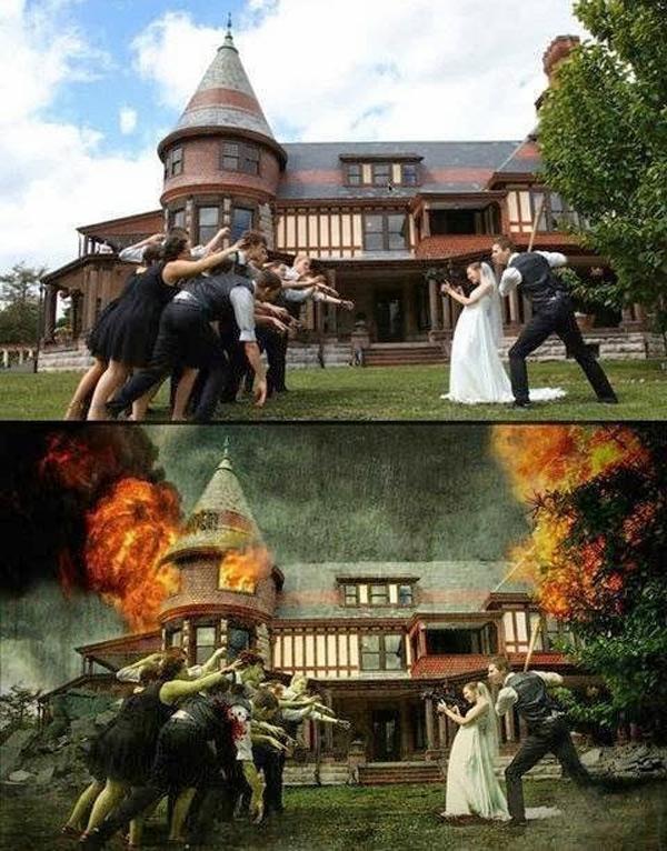 Foto de boda estilo Walking Dead
