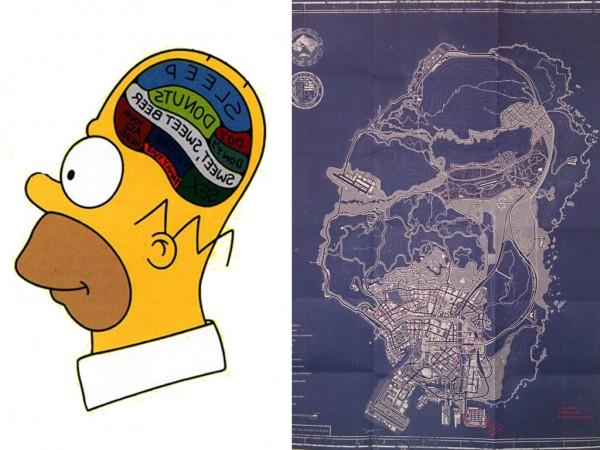 Parecidos razonables: Cabeza de Homer Simpson y mapa GTA 5