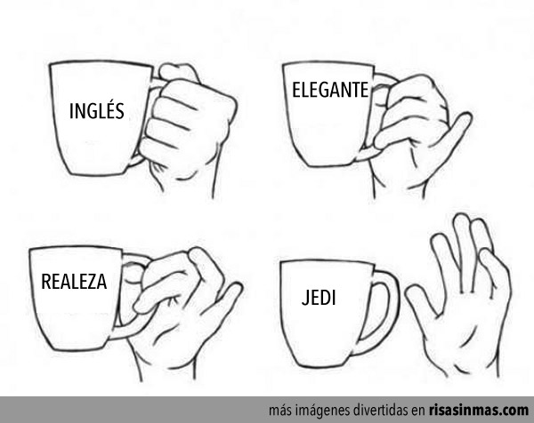 Diferentes formas de sujetar una taza