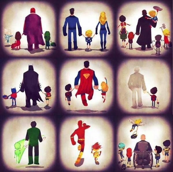 Superhéroes con sus hijos