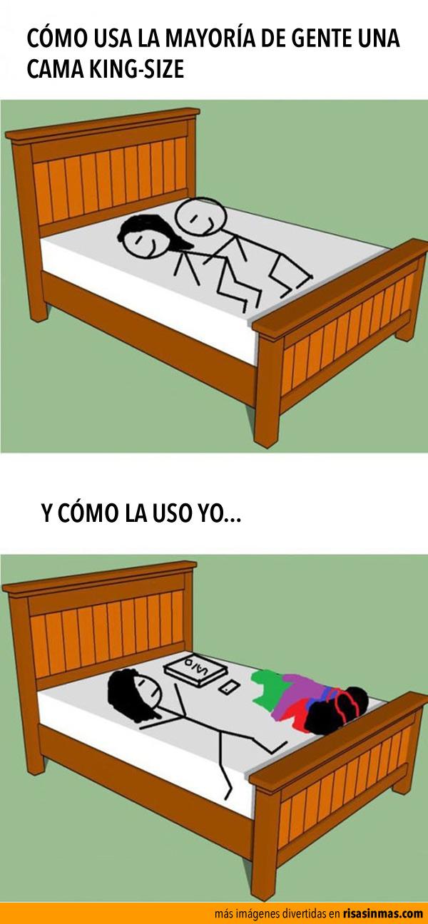 Usando una cama king-size