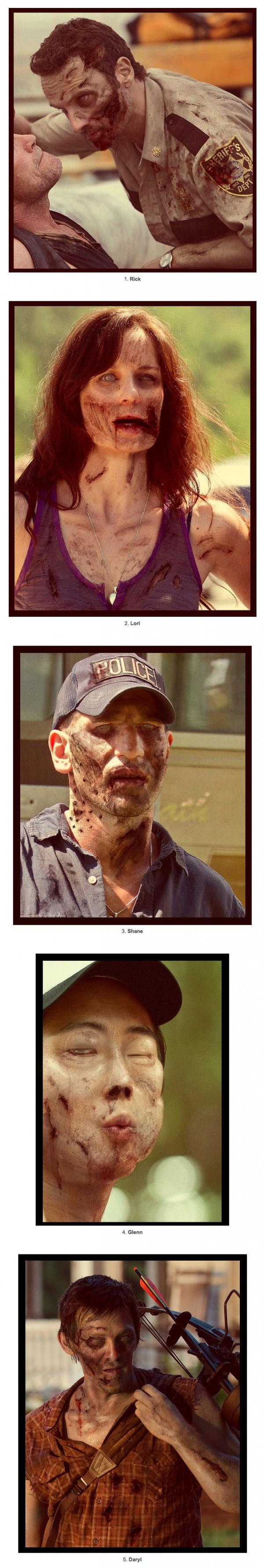 Los personajes de Walking Dead como zombies