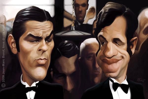 Caricatura de Alain Delon y Jean-Paul Belmondo
