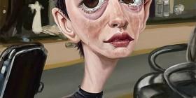 Caricatura de Anne Hathaway en Los Miserables