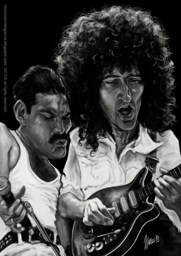 Caricatura de Freddie Mercury y Brian May