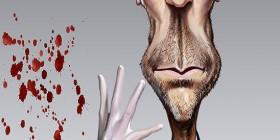 Caricatura de Hugh Laurie como Dr. House