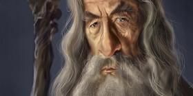Caricatura de Ian McKellen como Gandalf