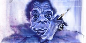 Caricatura de James Baldwin