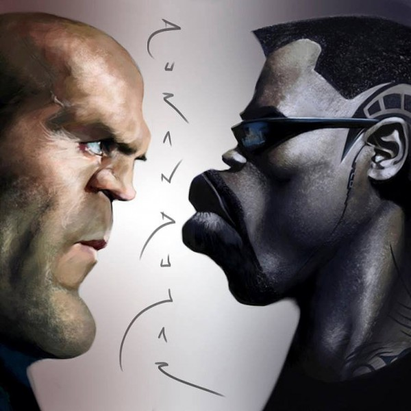Caricatura de Jason Statham y Wesley Snipes
