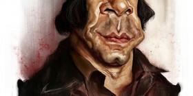 Caricatura de Javier Bardem como Anton Chigurh