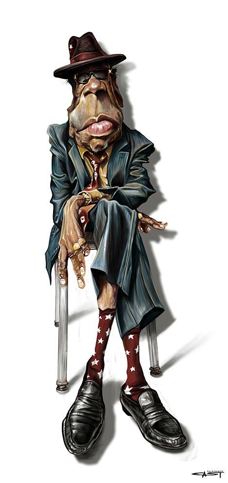 Caricatura de John Lee Hooker