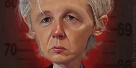 Caricatura de Julian Assange