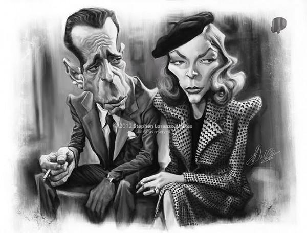 Caricatura de Lauren Bacall y Humphrey Bogart