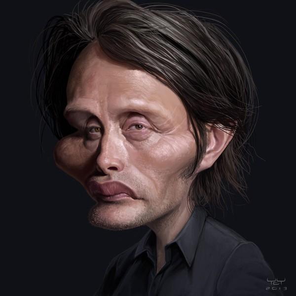 Caricatura de Mads Mikkelsen
