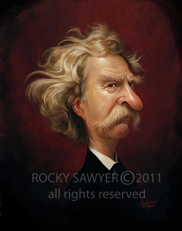 Caricatura de Mark Twain
