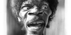 Caricatura de Samuel L. Jackson como Jules Winnfield