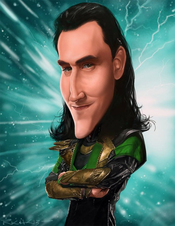 Caricatura de Tom Hiddleston como Loki