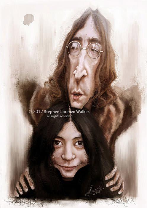 Caricatura de Yoko Ono y John Lennon