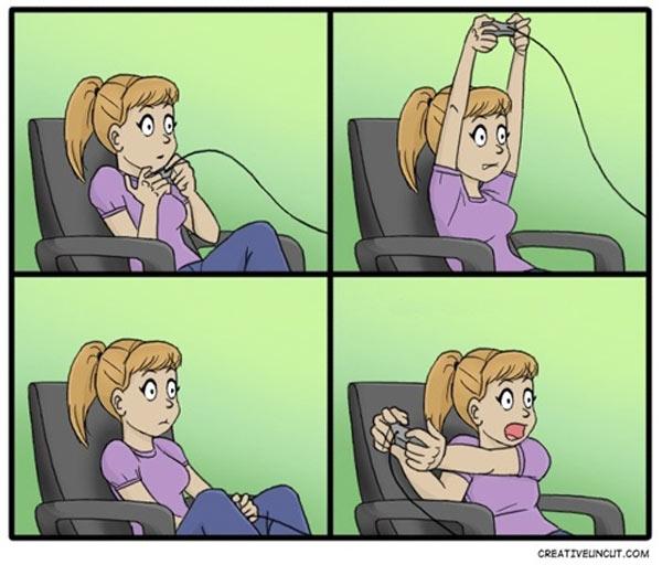 Chica jugando a un videojuego