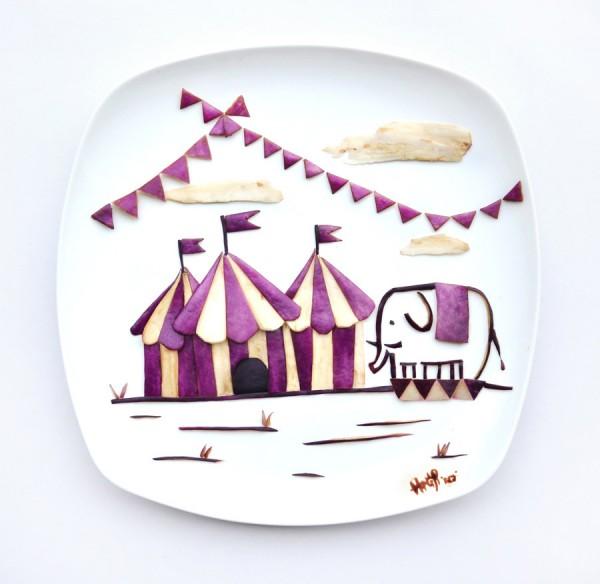 Circo hecho con berenjenas