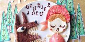 Comidas divertidas: Caperucita roja y el lobo