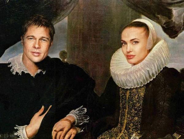 Cuadros clsicos con actores famosos Angelina Jolie y Brad Pitt