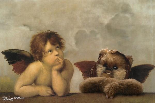 Ewok en el cuadro de La Madona Sixtina
