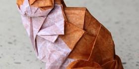 Gato hecho con origami