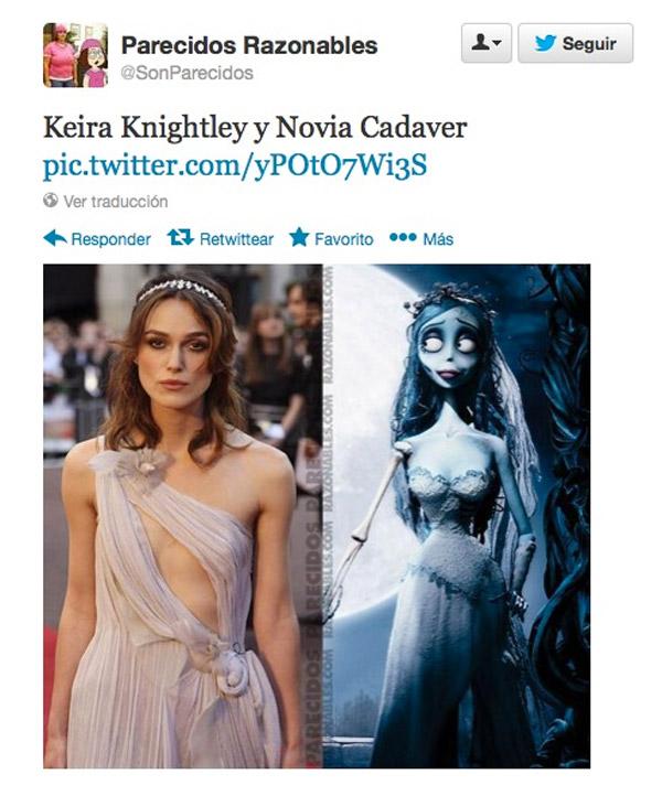 Parecidos razonables: Keira Knightley y Novia Cadaver
