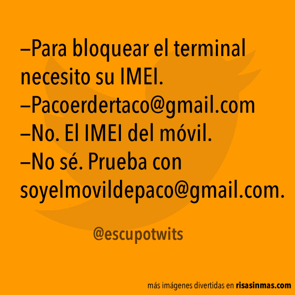 Necesito su IMEI para bloquear el terminal