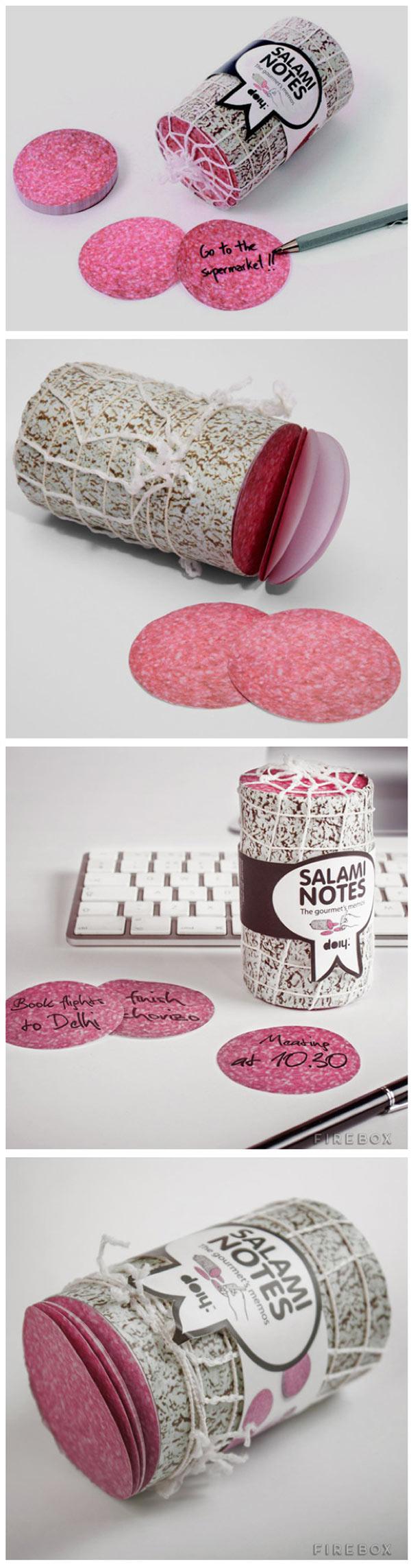 Notas adhesivas de salami