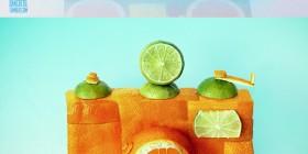 Objetos hechos con frutas y vegetales