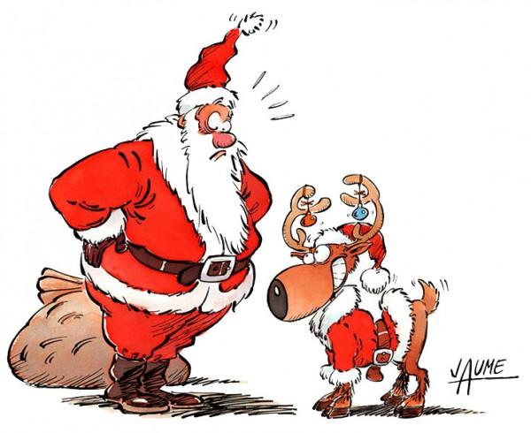 Papa Noel preparando sus renos