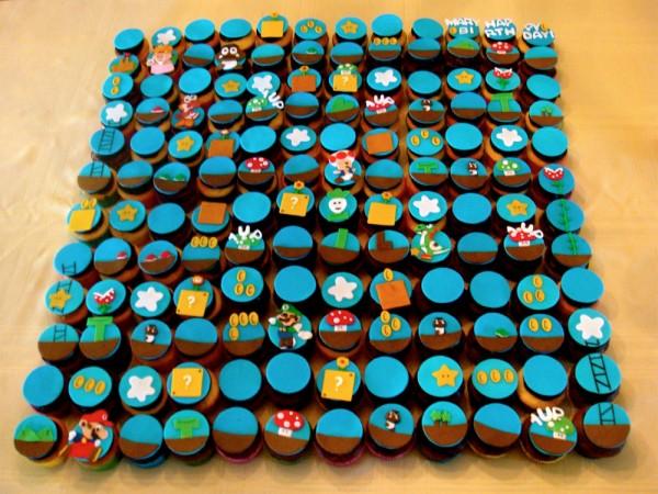 Partida de Mario Bros hecha con cupcakes