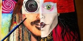 Personajes de Johnny Depp en un cuadro