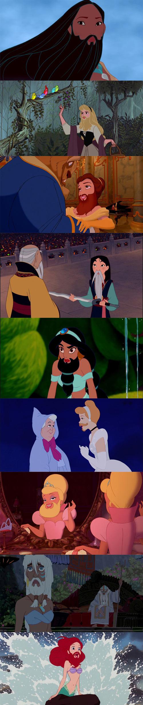 Personajes femeninos de Disney con barba