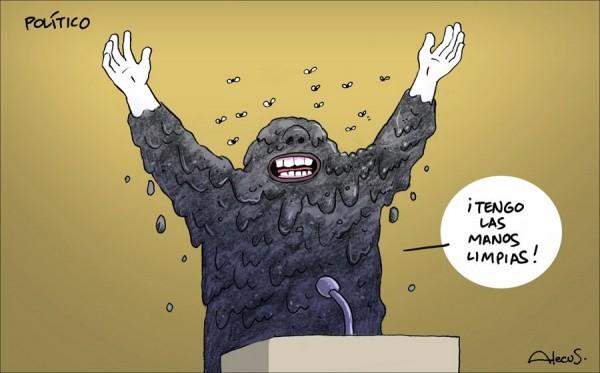 Político con manos limpias