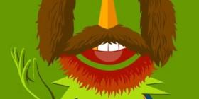 Retrato de Jim Henson con personajes Barrio Sésamo