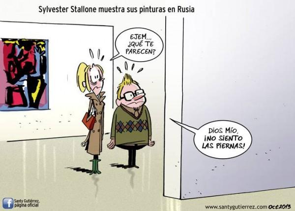 Sylvester Stallone muestra sus pinturas en Rusia