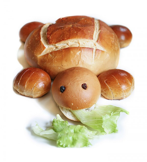 Tortuga hecha con pan