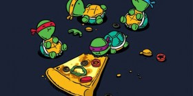 Tortugas ninja comiendo pizza