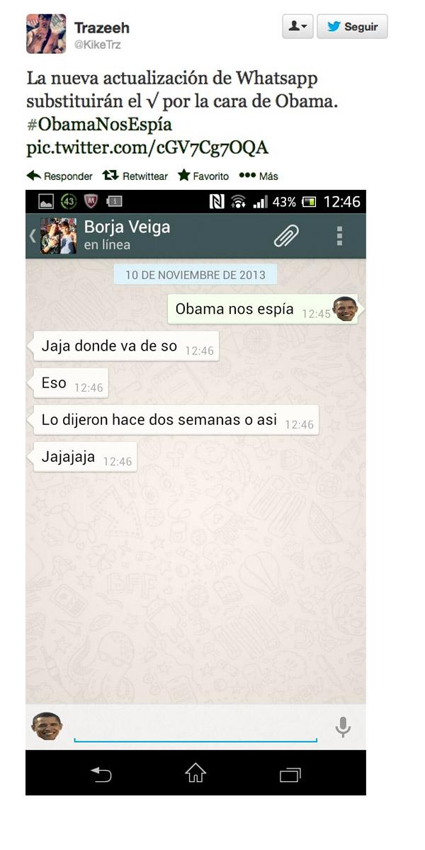 Actualización de WhatsApp con Obama