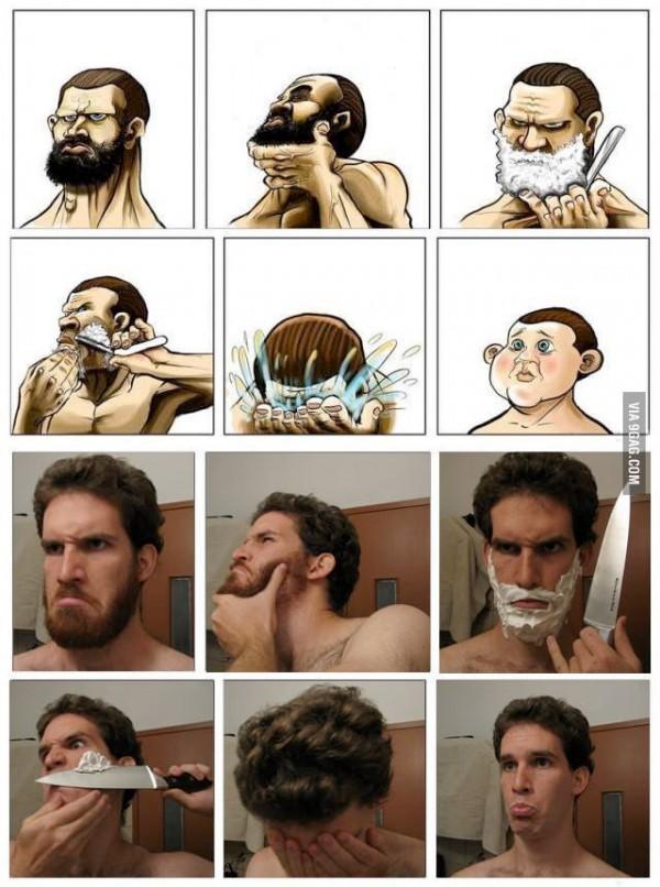 La versión real del chiste del afeitado