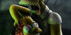 Homer y Bart zombies