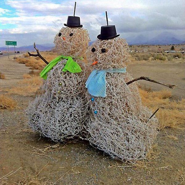 Así son los muñecos de nieve en Texas